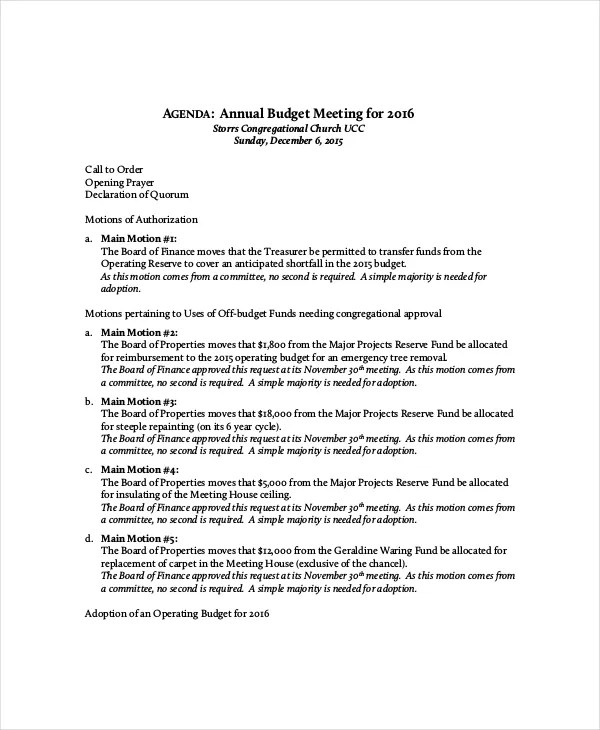 Budget Meeting Agenda Template – 10 Free Word PDF