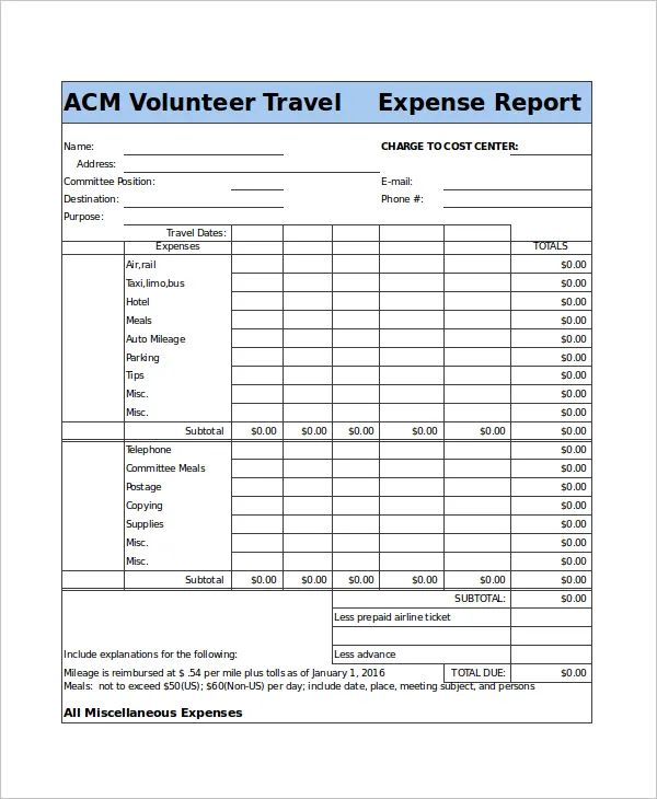 excel travel expense report
