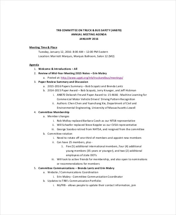 Safety Meeting Agenda Template – 8 Free Word PDF