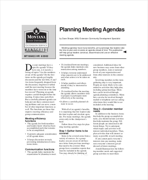 Weekly Meeting Agenda Template