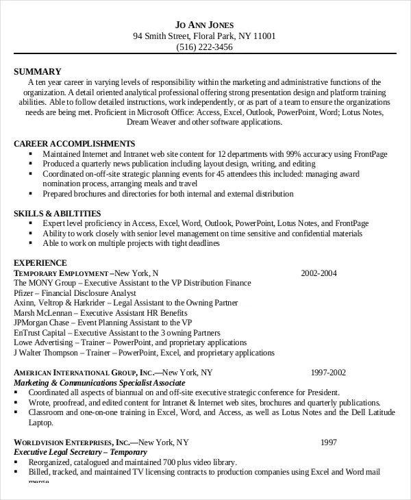 6 Legal Administrative Istant Resume Templates Free Sample  Administrative Secretary Resume