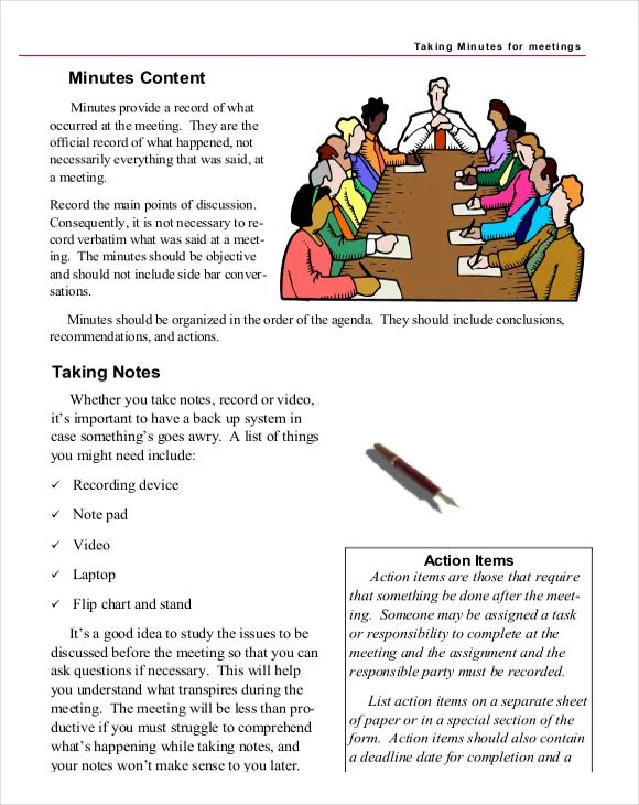 how to write minutes of a meeting format