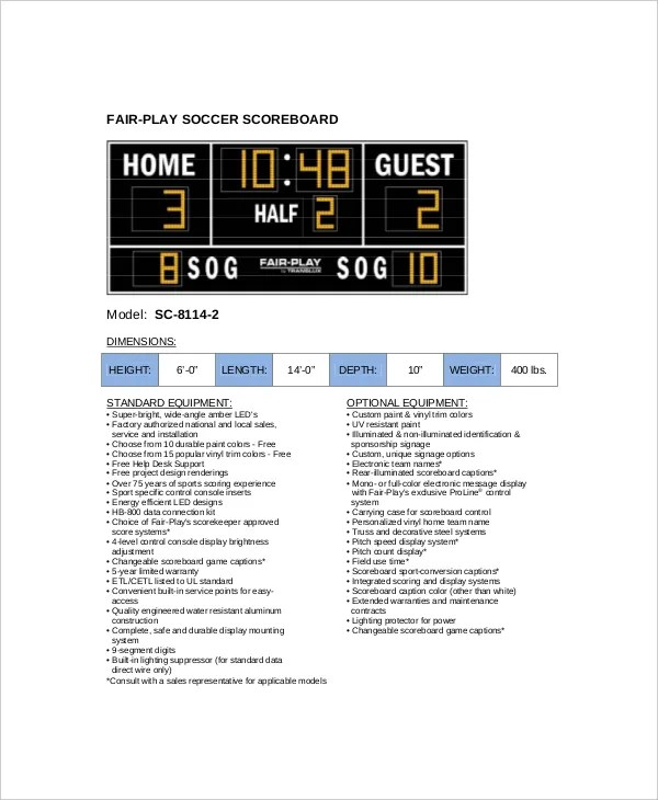 8+ Soccer Scoreboard Templates