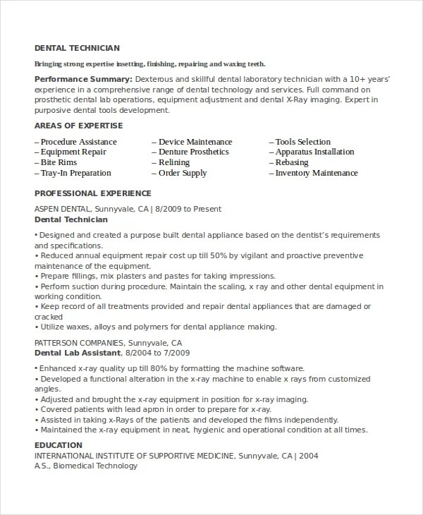 Dental lab resume