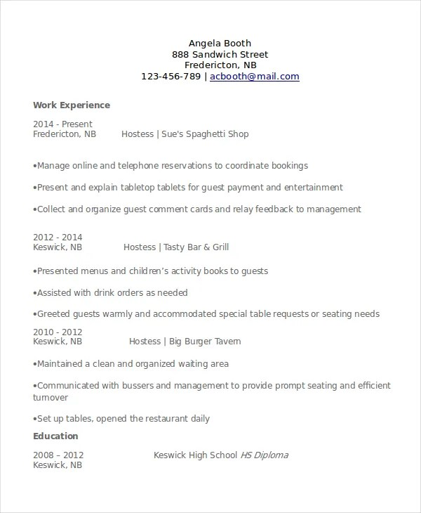 6 Hostess Resume Templates PDF DOC Free & Premium