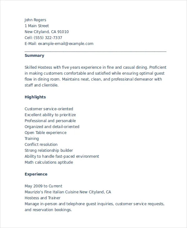6 Hostess Resume Templates  PDF DOC  Free  Premium