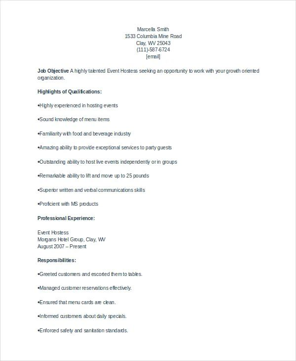 air hostess sample resume
