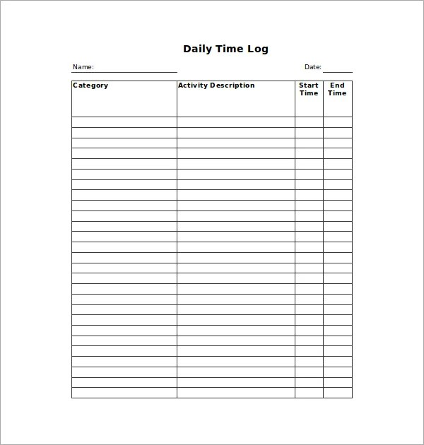 Sample Daily Log. Daily Log Template Daily Log Template Receipt ...