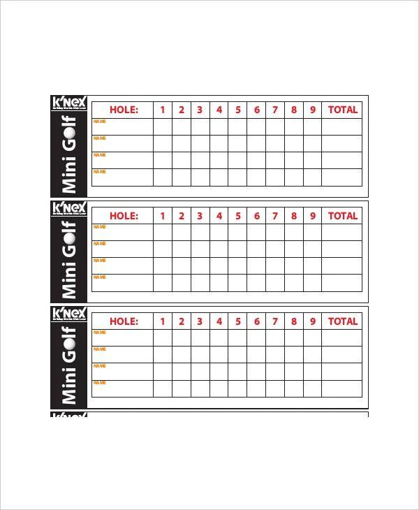 mini golf scorecard template