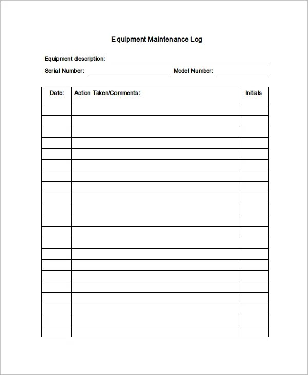 This maintenance technician job description template is optimized for posting on online job boards or careers pages and easy to customize for your company. Maintenance Log Template 12 Free Word Excel Pdf Documents Free Premium Templates