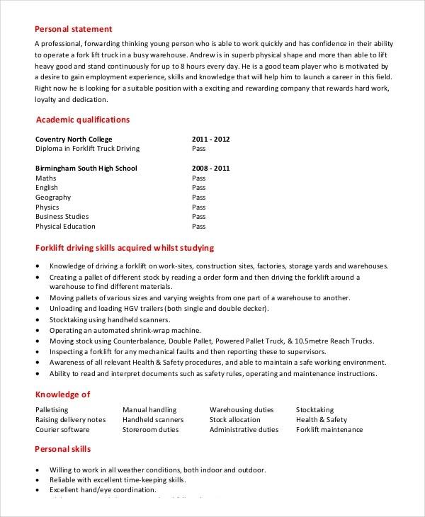 Forklift Resume Unforgettable Forklift Operator Resume Examples  Forklift Operator Resume