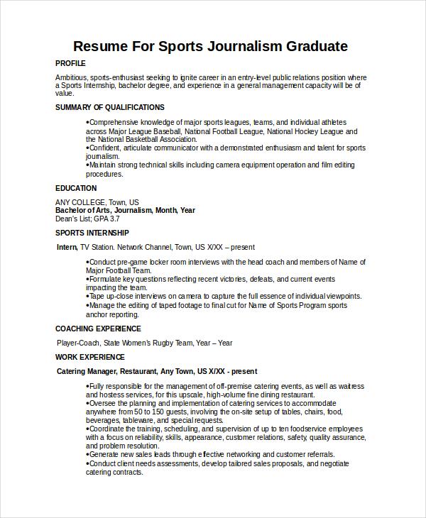 Journalist Resume Template 5 Free Word PDF Document