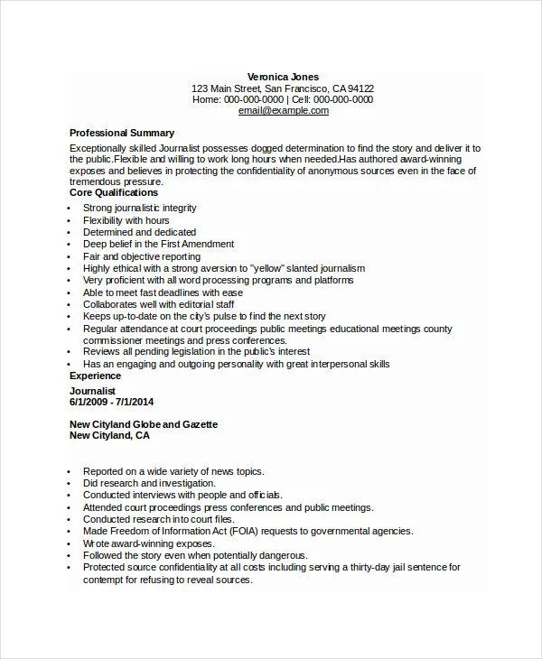 free journalist resume templates