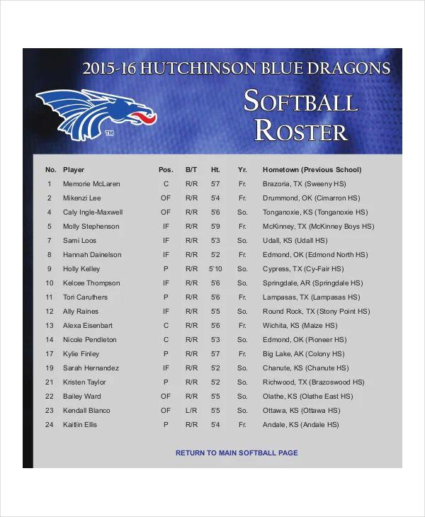 baseball roster template