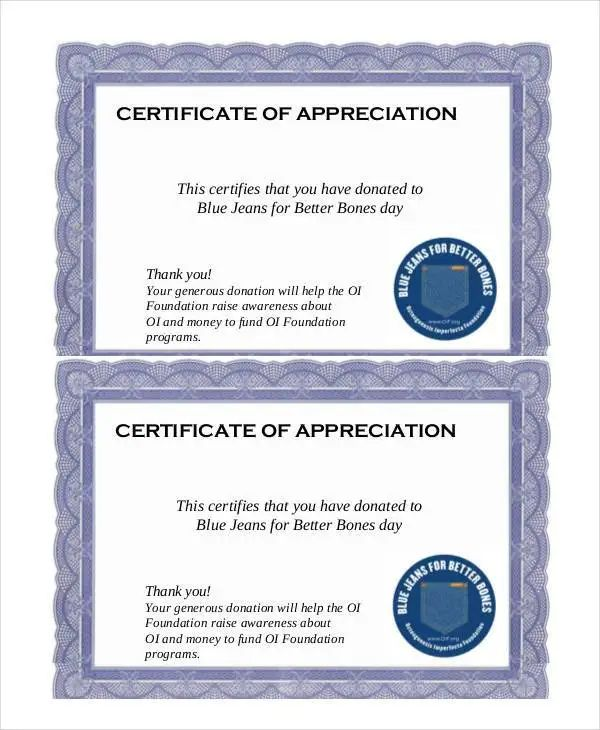 certificate of appreciation donation