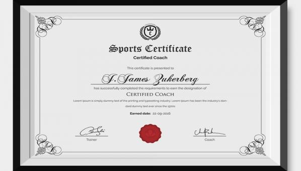 sports participation certificate