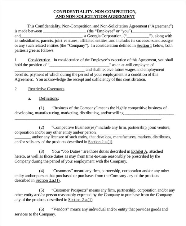 Vendor Non Compete Agreement Template 11 Free Word PDF