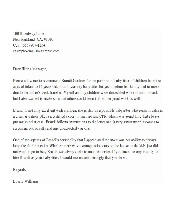 8 Babysitter Reference Letter Templates Free Sample