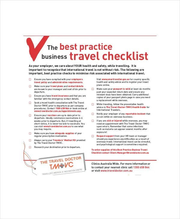 travel checklist template pdf distination co