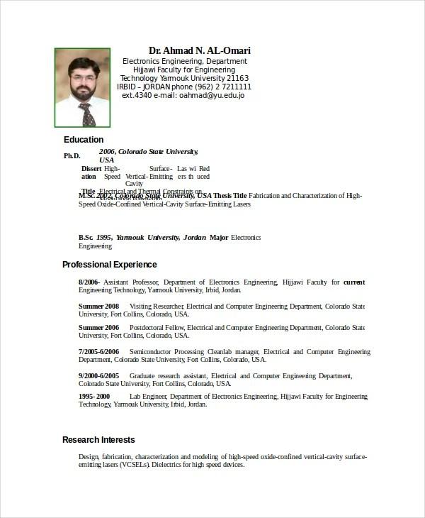 electronic resume format resume sample