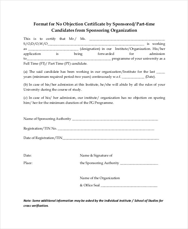 no objection letter for car registration us custom declaration form pdf 26917 | Format for No Objection Certificate