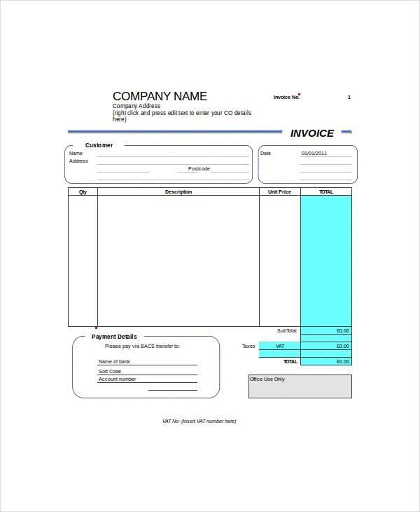 Blank Invoice Template Uk Word Sample Customer Service Resume