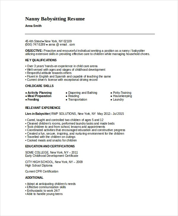 Resume Nanny Sample Babysitter Resumes Previousnext Nanny On