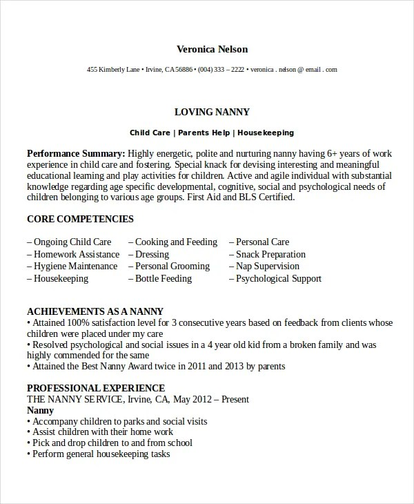 Nanny Resume Examples Resume Examples Resume Examples For Any Job