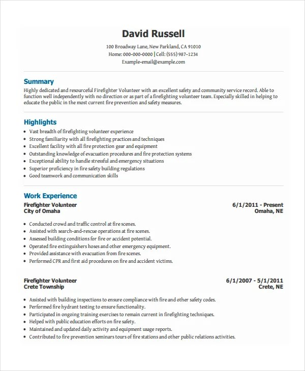 Fire Fighter Resume Firefighter Resume Sample Writing Guide  Fire Fighter Resume