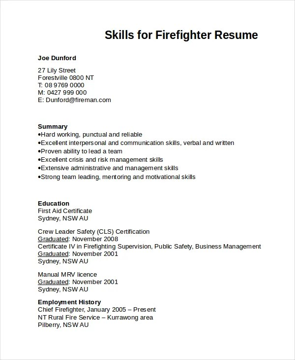 7 Firefighter Resume Templates PDF DOC Free