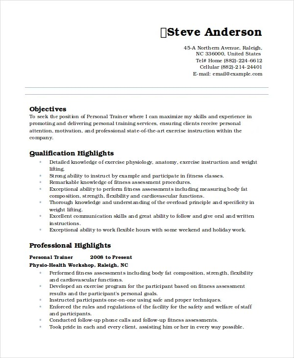 Example of personal resume