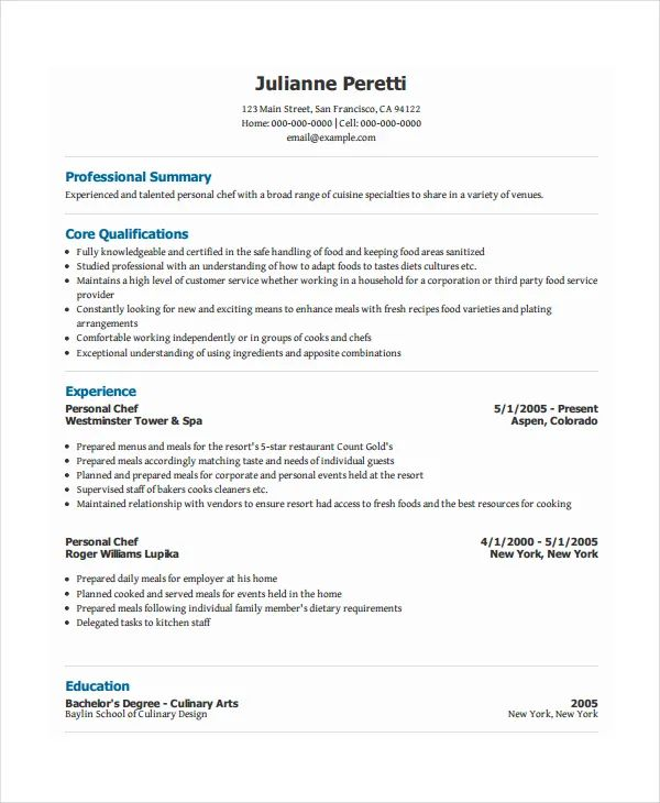personal chef resume samples