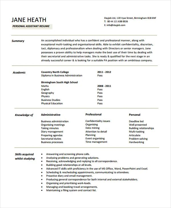 personal cv resume template