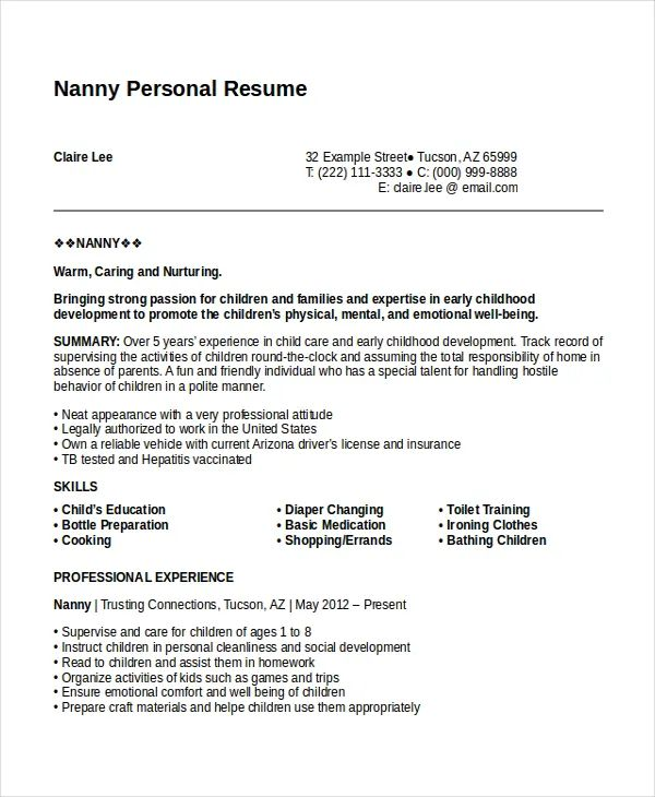 personal details in resume example