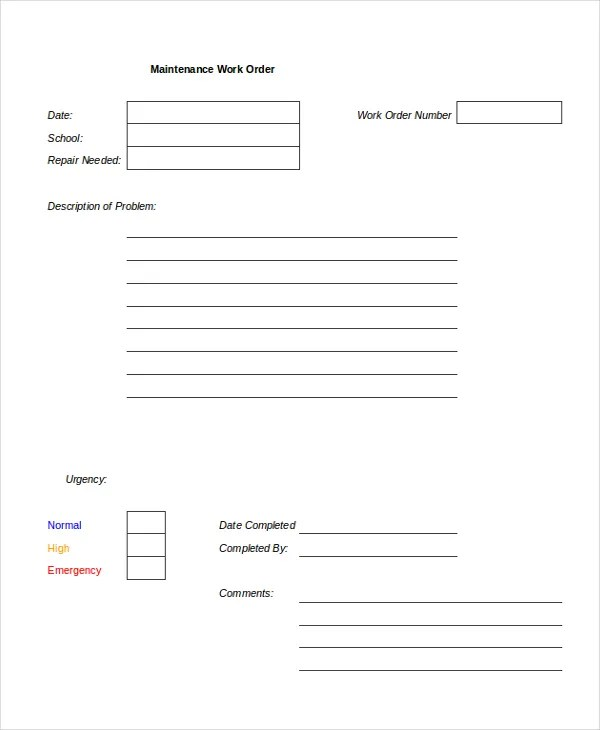 An apartment repair request form is a quicker and easier way to manage requests. Excel Maintenance Form Excel Maintenance Request Form Template Free 9 Sample