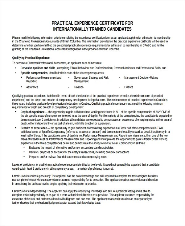 14 Experience Certificate Templates PDF Google Docs