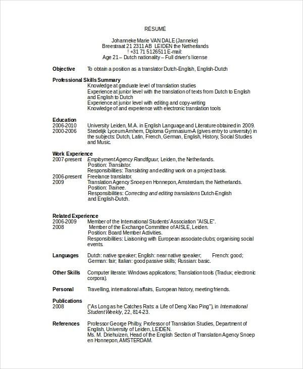10 Work Resume Templates  PDF DOC  Free  Premium