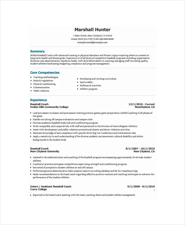 Baseball coaching resume templates volleyball coach sample for Cover letter for strength and conditioning coach