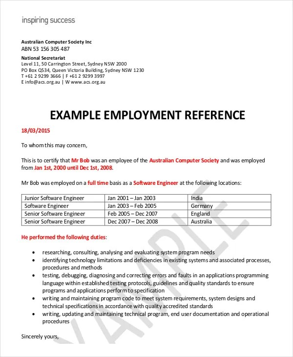 Employment Reference Letter Template Australia Letter – Employee Reference Template