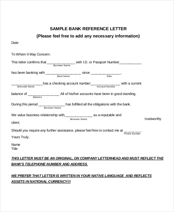 8 Sample Bank Reference Letter Templates  PDF DOC
