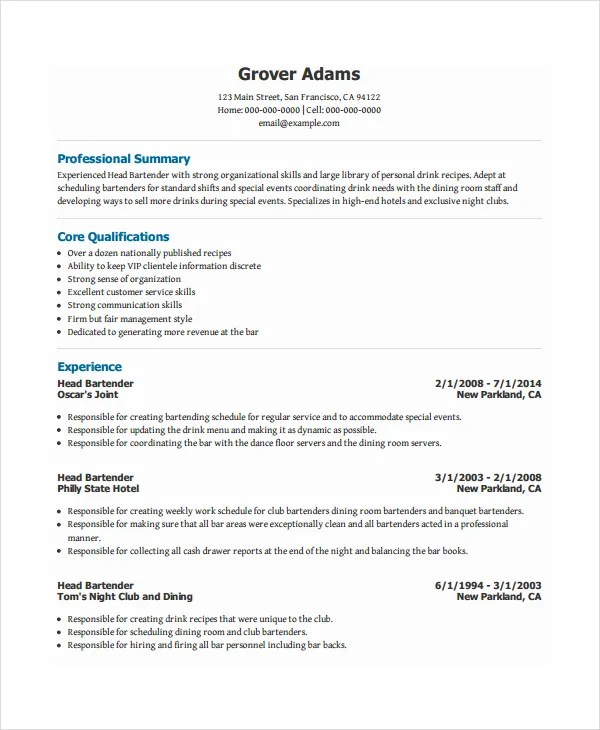bartender resume template 6 free word pdf doent s