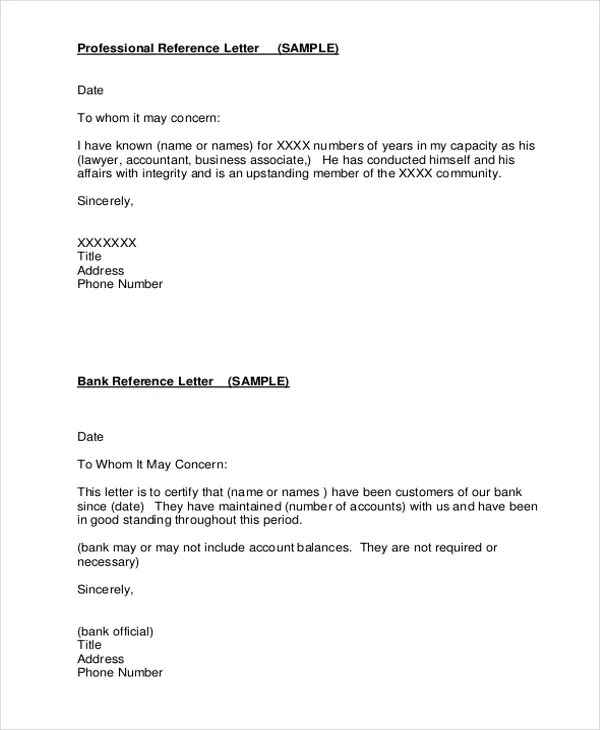 19 Professional Reference Letter Template Free Sample