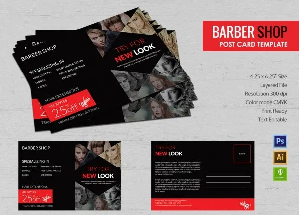 17 Barber Shop Templates PSD EPS CDR Vector Format