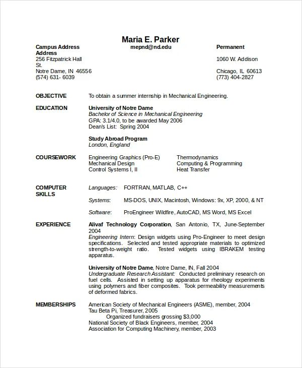 resume samples for freshers mechanical engineers