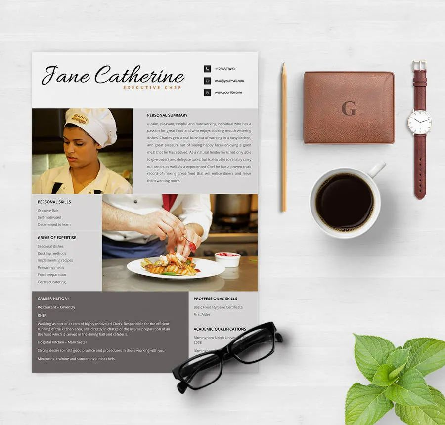 resume template for a chef