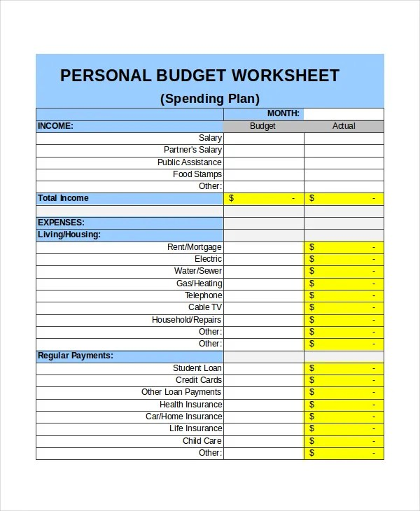 personal monthly budget sheet simple balanced scorecard template