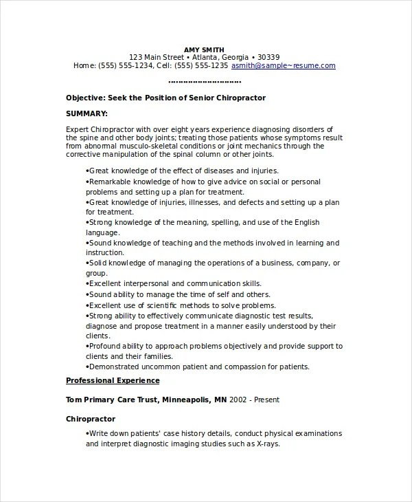 Chiropractic Resume Template  6Free Word Documents Download  Free  Premium Templates