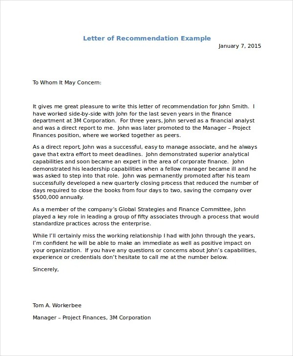 Example Of Letter Recommendation For