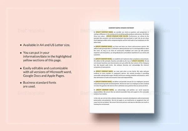 Mission Statement Template 12 Free Word PDF Document Downloads Free Amp Premium Templates