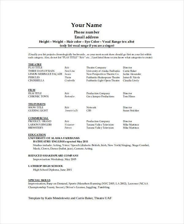 tech theatre resume template